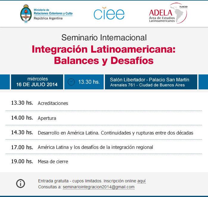 Seminario internacional integraci n latinoamericana Ministerio de relaciones exteriores y culto