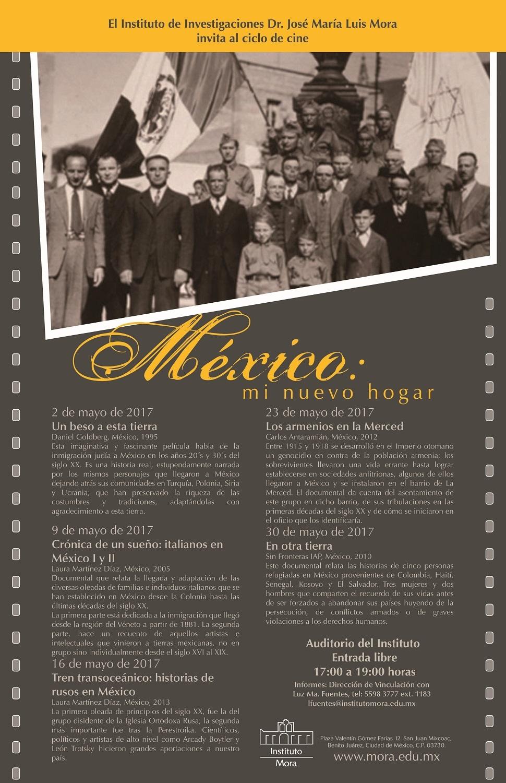 Cartel. Ciclo de cine. México: mi nuevo hogar