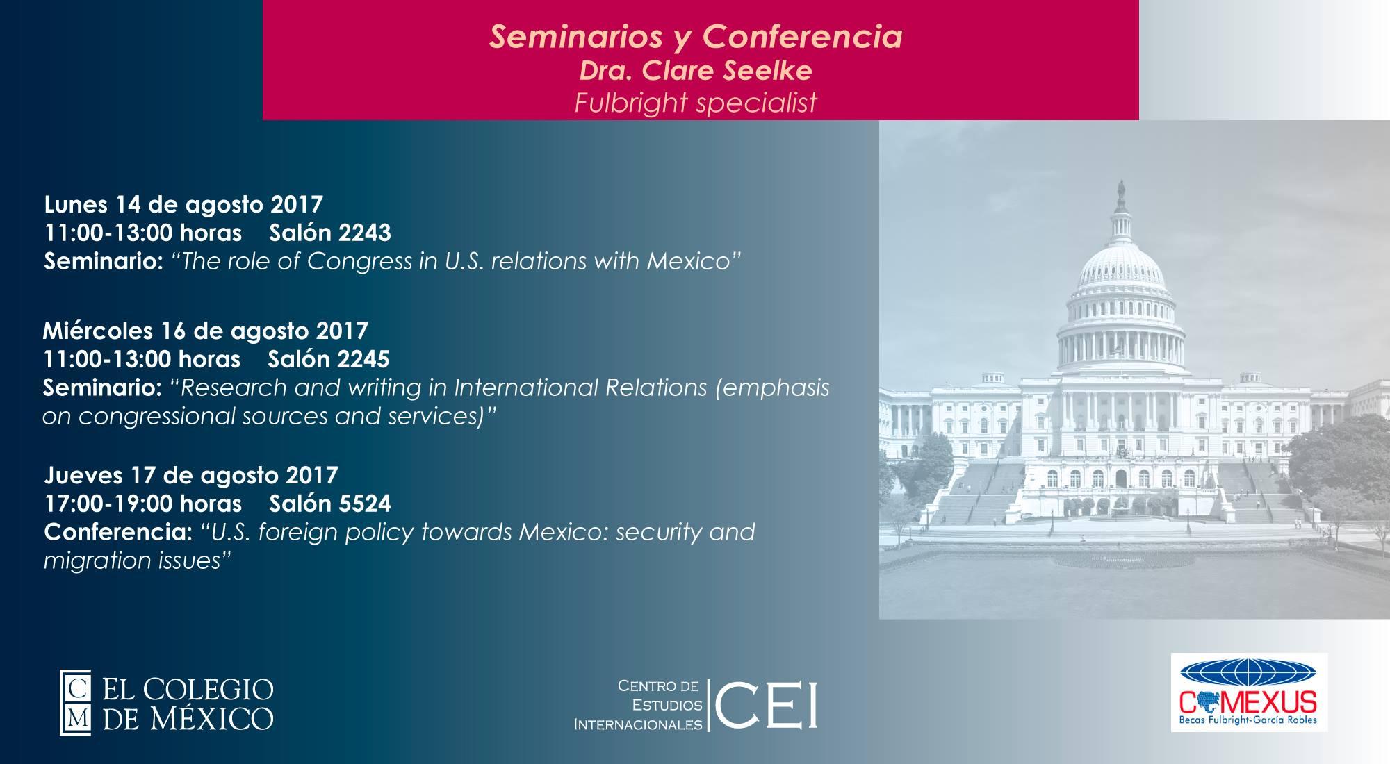 Seminarios y conferencias Dra. Clare Seelke