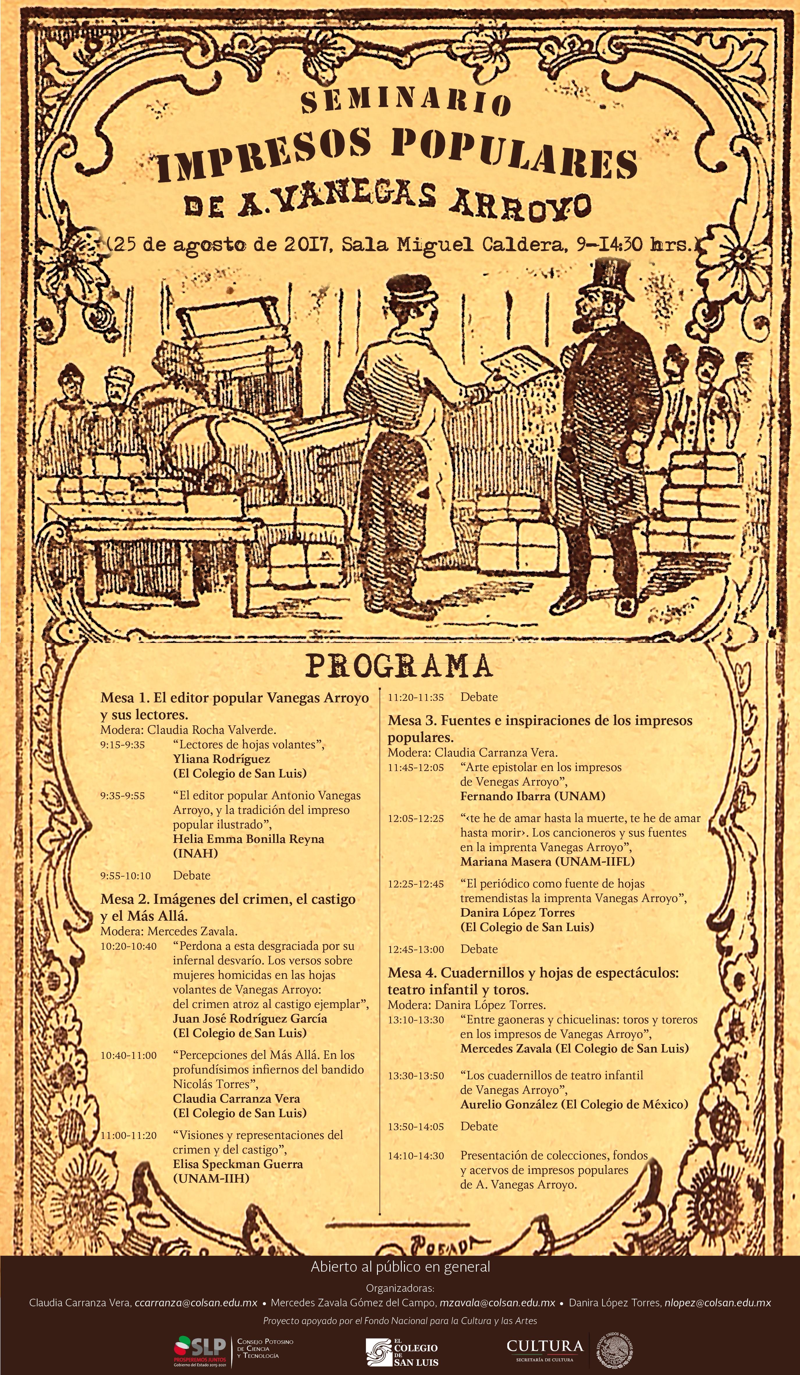 Programa Seminario Impresos Populares de A. Vanegas Arroyo