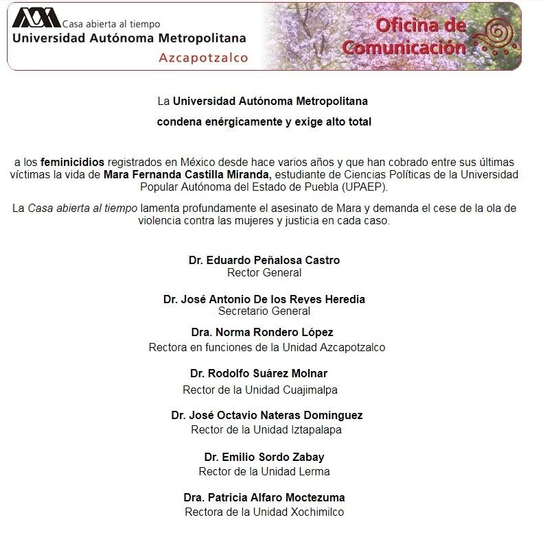 UAM condena los feminicidios en México