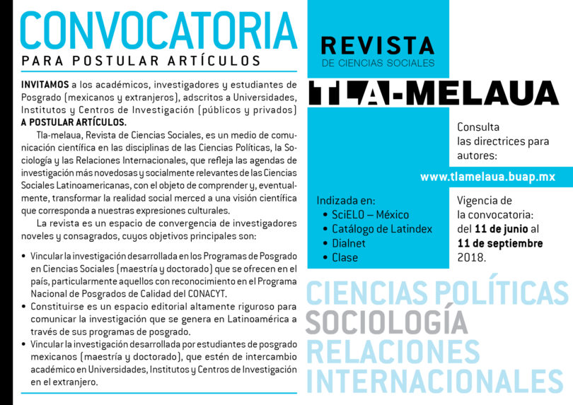 Convocatoria Revista Tla-Melaua
