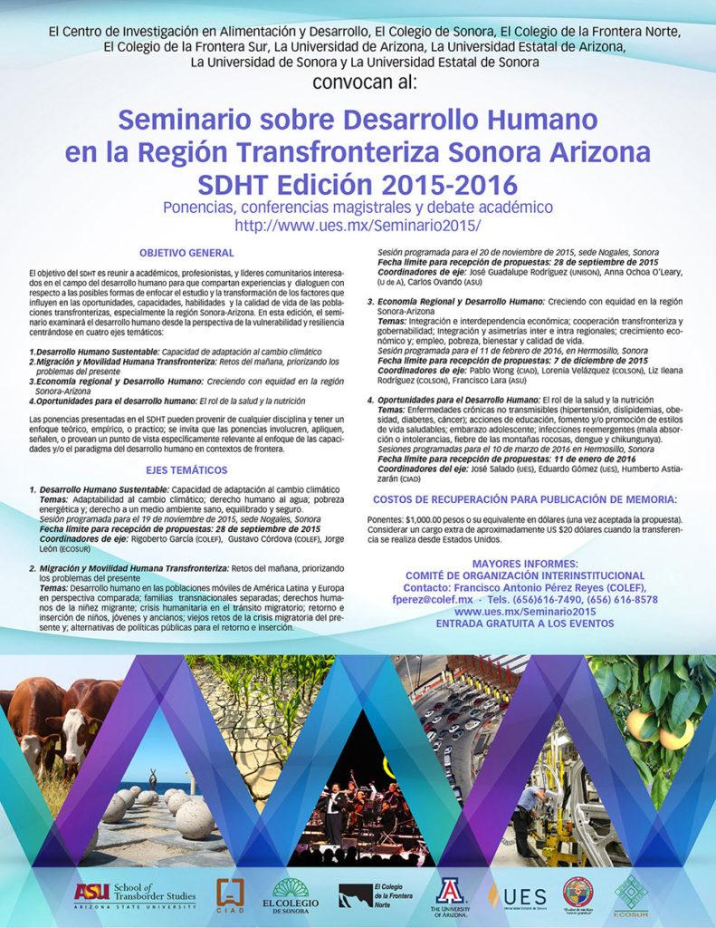 Poster del Seminario Desarrollo Humano Sonora Arizona 2015