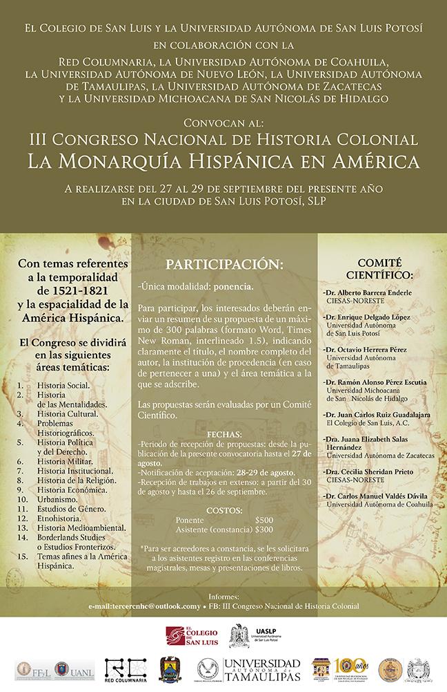 Cartel. III Congreso Nacional de Historia Colonial