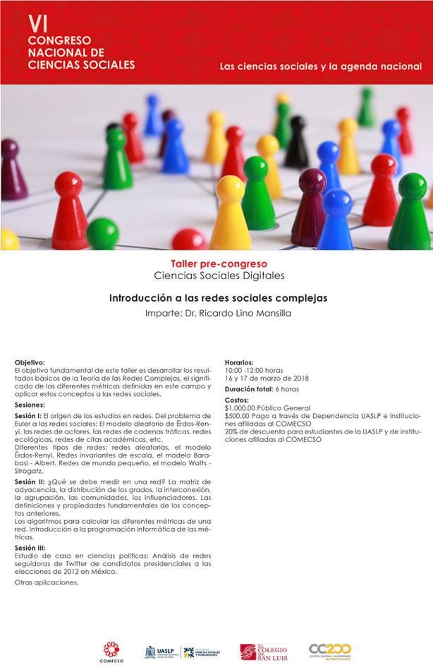 Cartel taller: Introducción a las redes sociales complejas