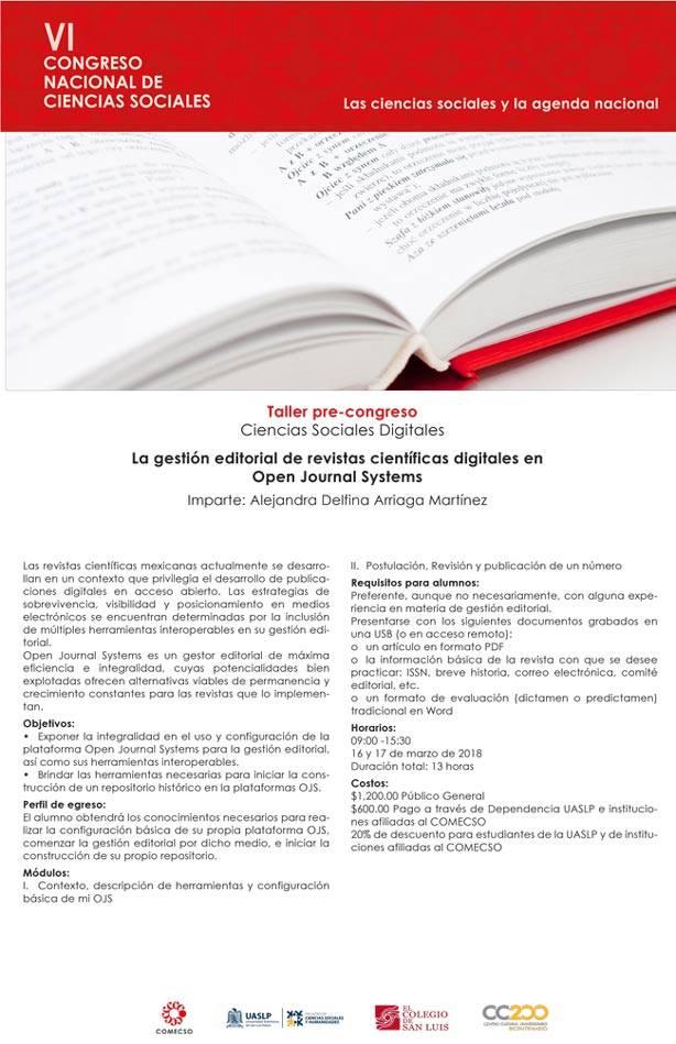 Cartel taller: La gestión editorial de revistas científicas digitales en Open Journal Systems
