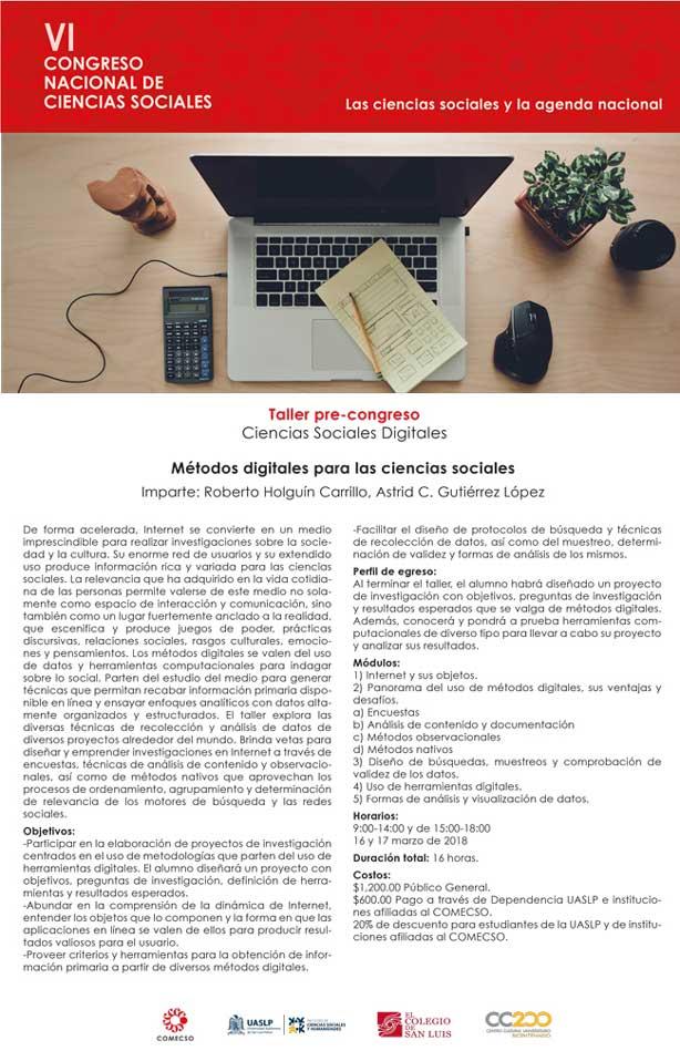 Cartel taller: Métodos digitales para las ciencias sociales