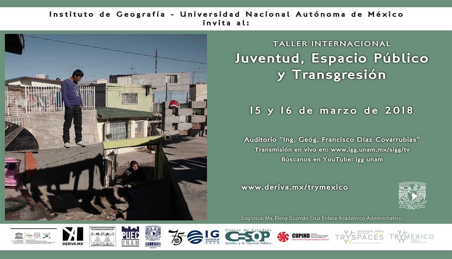 Cartel Taller internacional Juventud, espacio público y transgresión