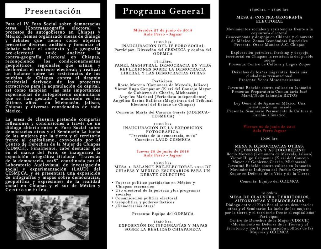 Programa general del IV Foro Social sobre democracias otras.