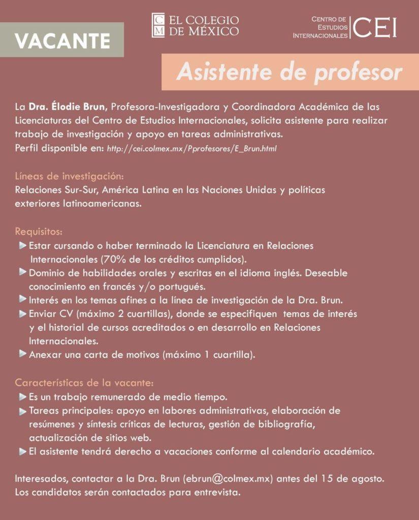 Asistente de profesor en el CEI-Colmex