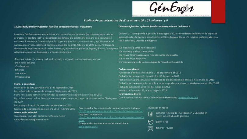 Convocatoria revista GénEros