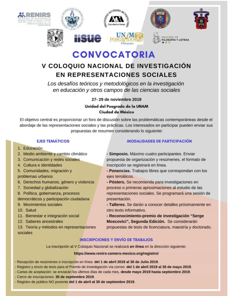 V Coloquio Nacional de Representaciones Sociales