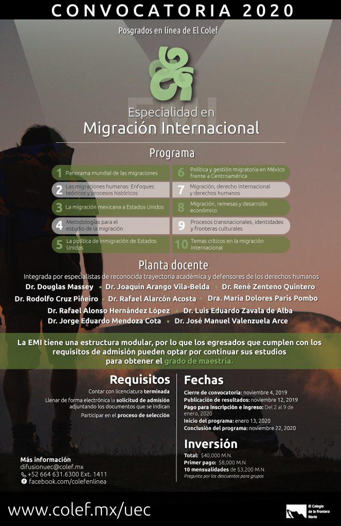 Especialidad en migración internacional 2020