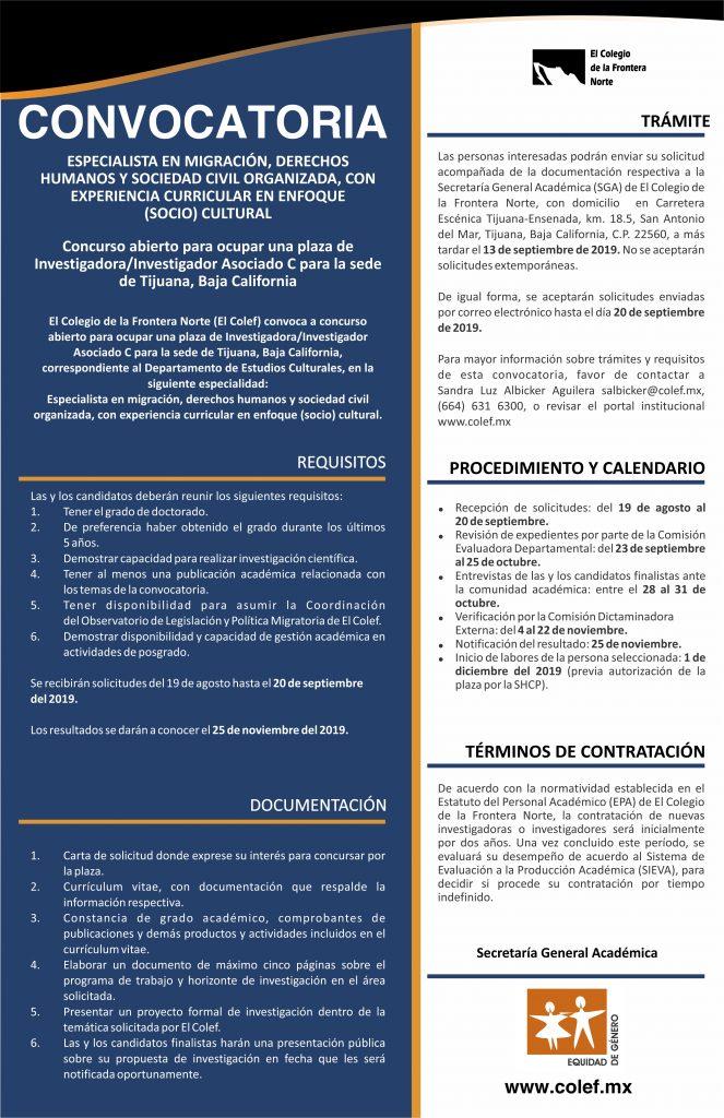 Especialidad en migración, derechos humanos y sociedad civil