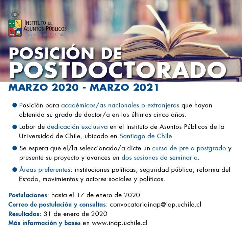 Posición de posdoctorado en INAP, Chile