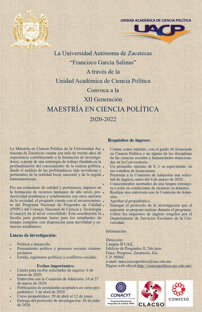Maestría en Ciencia Política, UACP-UAZ