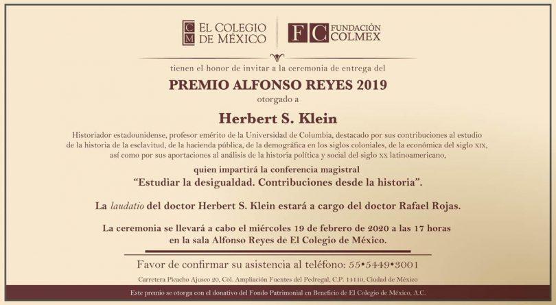 Entrega del Premio Alfonso Reyes 2019