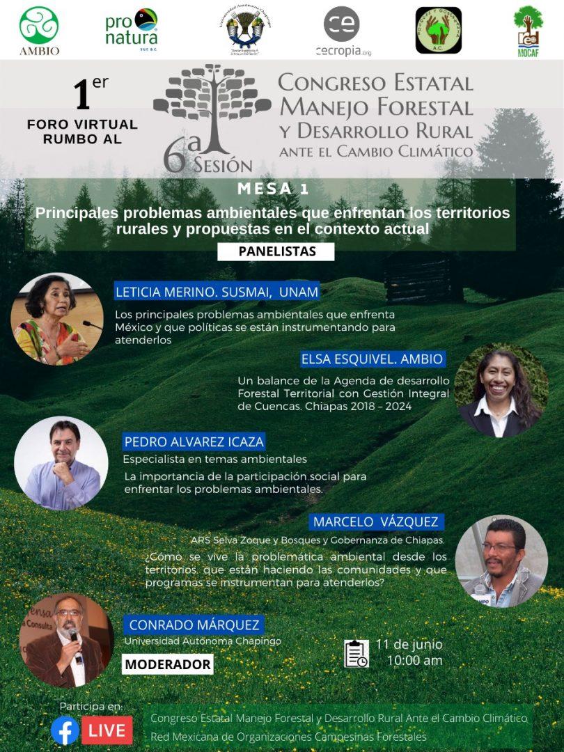 1er Foro virtual rumbo al Congreso Manejo Forestal y Desarrollo Rural ante el Cambio Climático