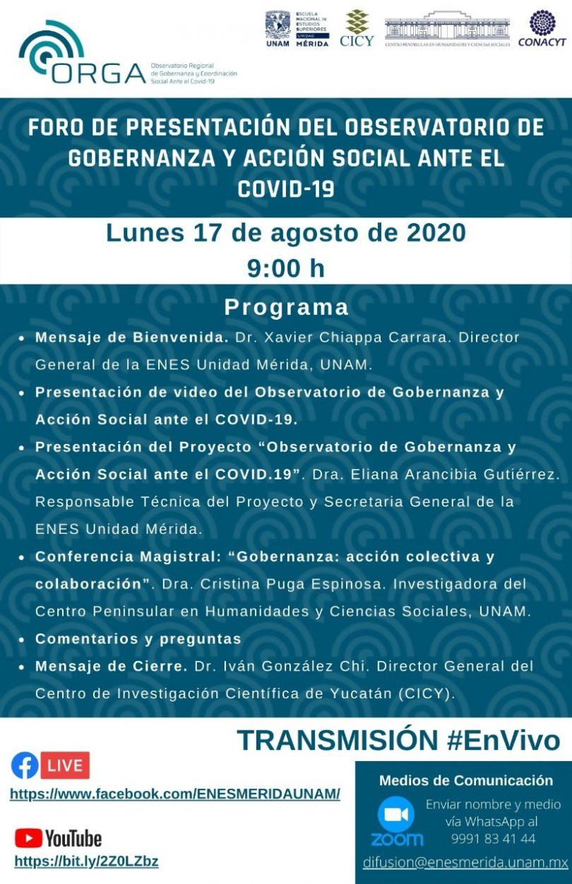 Foro de presentación del observatorio de gobernanza y acción social ante el COVID-19