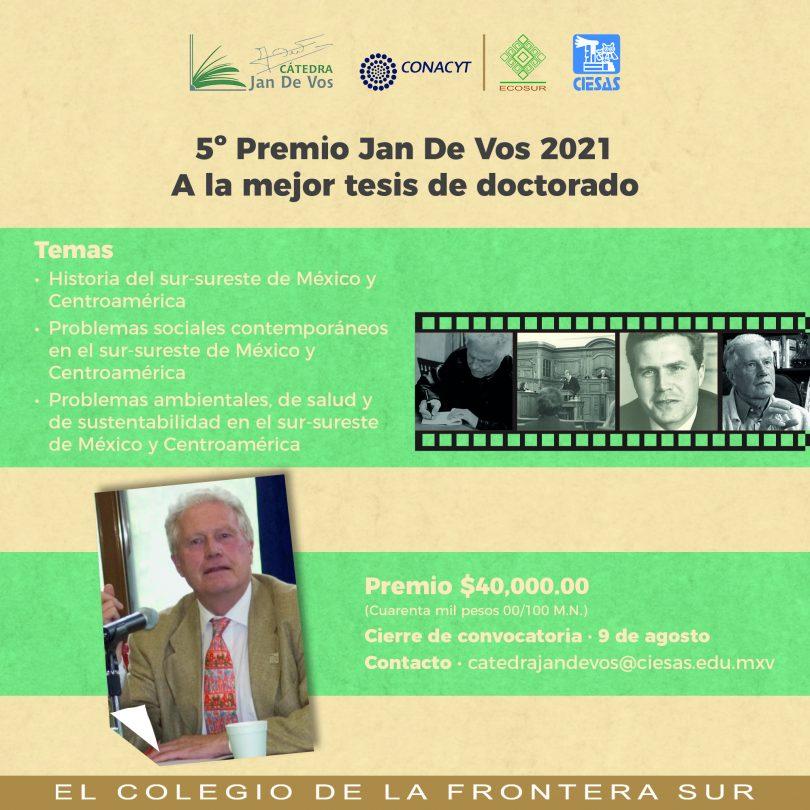 5o. Premio Jan De Vos 2021 a la mejor tesis de doctorado