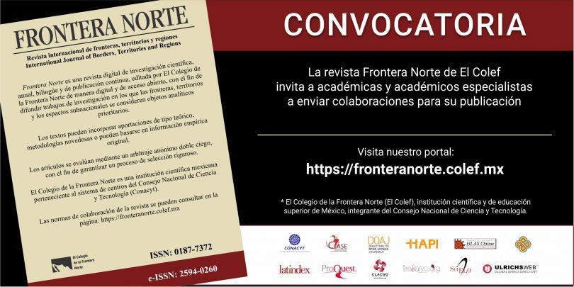 Convocatoria de la revista Frontera Norte